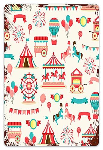 DECISAIYA Vendimia Cartel de Chapa metálica Caballos Patrón de circo rosado Carnaval de época Carpa de rueda de carrusel rojo Carpa Festival de la fortuna Comida Placa Póster Regalo colgante 20x30cm