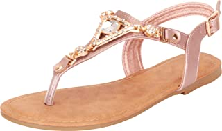 Cambridge Select Women`s Thong Toe Crystal Rhinestone Slingback Flat Sandal