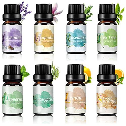 Ätherische Öle Set 100% Rein Naturrein - TOP 8x10ML Aromatherapie Duftöle Geschenkset, Duft Öl für Aroma Diffuser, Lavendel, Teebaum, Magnolie, Eukalyptus, Rosmarin, Süßes Orange, Zitrone, Pfefferminz