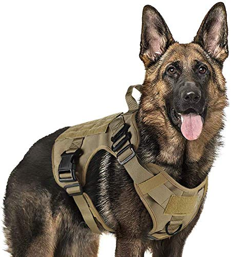 New rabbitgoo Tactical Dog Harness Vest Large with Handle, Military Dog Harness Working Dog Vest with MOLLE & Loop Panels, No-Pull Adjustable Training Vest, Tan, XLarge Size, Chest (33.4-46.4