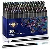Rotuladores Coloring para niños, EooUooIP®️ 100 Colores Bolígrafos Para Colorear Plumas de Línea Fina con Punta Fina de 0,4 mm, Perfecto para Manualidades, Pintar Mandalas o Material Escolar
