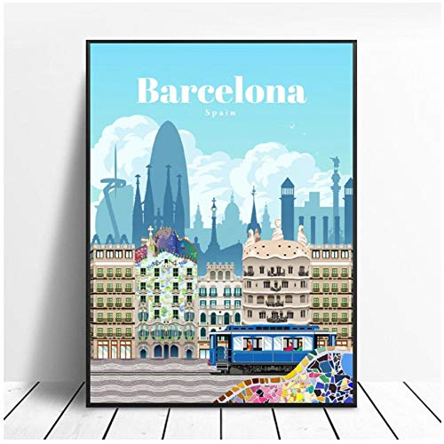 Travel To Barcelona Canvas Travel World Poster Painting Art Painting Posters Impresiones...