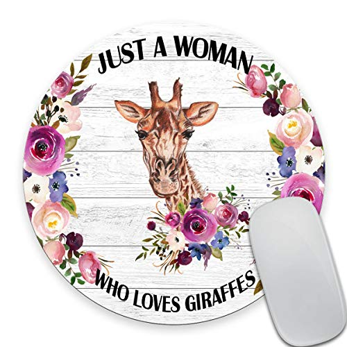 Smooffly Giraffe Round Mouse Pad, Mouse Pads for Women, Funny Quote Mouse Pad, Giraffe Lover Gift, Office Decor for Women - Just a Woman,Who Loves Giraffes