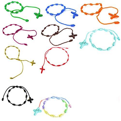 PPX 10 Pezzi Braccialetti Tessuti Fatti a Mano Braccialetti di Amicizia Multi Colore Braccialetto Intrecciato per Polso con Croce