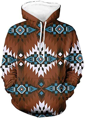 SEANATIVE Sudaderas aztecas marrones hombres más tamaño sudadera elástico jersey sudaderas bolsillo camisetas Tops para deportes L
