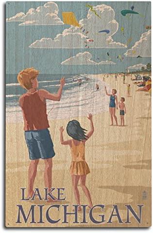 Lantern Press Lake Michigan Children Flying Kites 10x15 Wood Wall Sign Wall Decor Ready to Hang product image