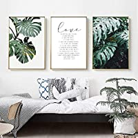 Modern Green Turtle Leaves Love Poetry Nordic Wall Art Prints Canvas Paintings Gift Poster Pictures for Living Room Home Decor 51x71cmx3 Unframed