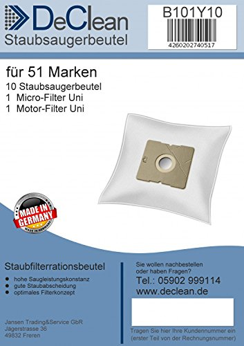 10 Staubsaugerbeutel DeClean Saugerfilterbeutel geeignet für Silva BS 20-250 P