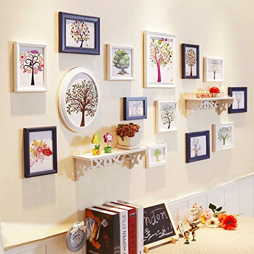 HJKY Photo Frame Wall Set Table-étagère mur mur mur photo cadre photo créatif combinaison de salle à manger salon chambre à coucher photo frame mur mur blanc bleu + à l'arbre de vie, le cœur