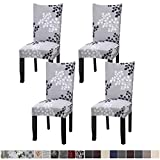 Fuloon 4 Pack Super Fit Stretch Removable Washable Short Dining Chair Protector Cover Seat Slipcover for Hotel,Dining Room,Ceremony,Banquet Wedding Party (Gray/Black)