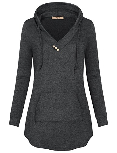 Miusey Workout Tops for Women,Ladies Stylish Long Sleeve Tee Shirt Pullover Tunic Career Unique Vintage Yoga Pilates Holiday Sweater Oversize Hoodie Sweatshirt with Kangaroos Pocket Charcoal Black XXL
