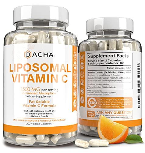 Vitamina C liposomal natural - 200 cápsulas, 1500 mg, sistema inmunológico y refuerzo de colágeno, alta absorción soluble en grasa VIT C, tampón, vitaminas de la piel antienvejecimiento, antiinflamatorias, lecitina de girasol
