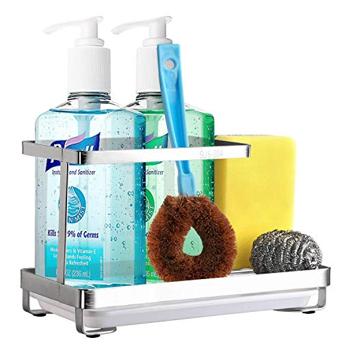 Kitchen Sink Caddy Organizer for Sponge Brush Dish Soap, with Removable Drip Tray, 18/8 Stainless Steel