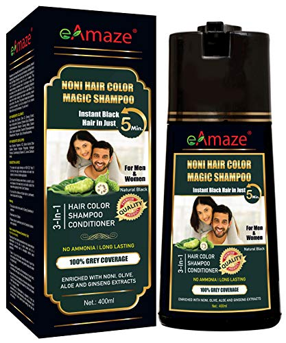 eAmaze NONI Hair Color Shampoo, 400 ml (Natural Black) | Ammonia Free | Instant Black Hair in Just 5 Minutes | For Both Men & Women