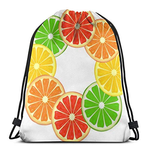 Lsjuee Citrus Ring Unisex Gym Sack Bag Drawstring Backpack Bag PE Kit Bag Swimming, RunningBoxing Bag