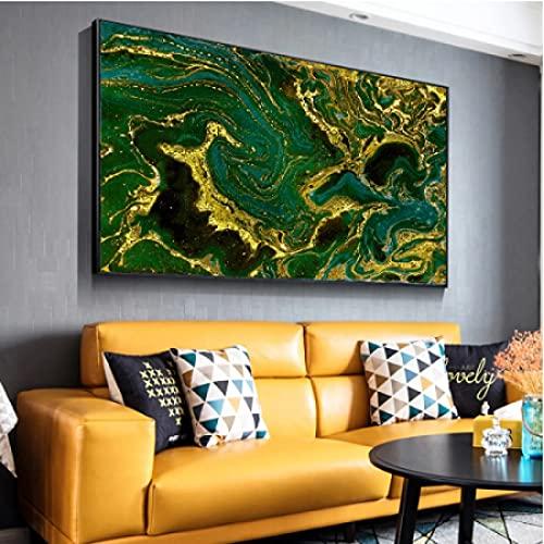 Arte de la pared de la lona 40x60cm sin marco Pintura al óleo Cuadros de la pared para la sala de estar Decoración del hogar Carteles abstractos dorados y verdes Arte para la sala de estar