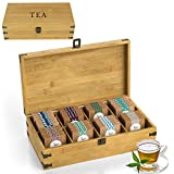 Zen Earth Bamboo Storage Box Tea Chest | Beautiful Wooden Kitchen Organizer with Large, Tall, Adjustable Shelves | Natural Bamboo Decorative Chest to Organize and Display Teas | 100% Handmade Craft