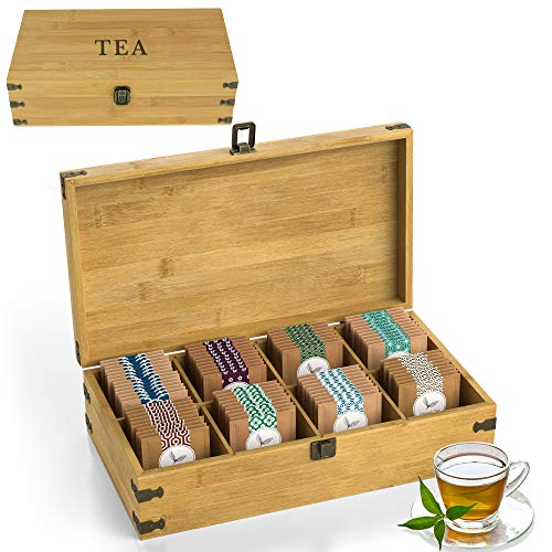 Zen Earth Bamboo Storage Box Tea Chest | Beautiful Wooden Kitchen Organizer...