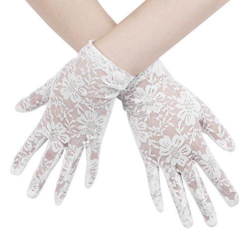 LONTG Brauthandschuhe Vollfinger Hochzeithandschuhe Mesh Blumen Fingerhandschuhe Kurze Netzhandschuhe Elastische Weiche Spitzenhandschuhe Hochzeit Party Handschuhe Brautkleid Abendkleid Zubehör