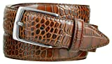 Joseph Nickel Finish Buckle Italian Leather Alligator Dress Belt 1-3/8 Wide (Alligator Brown, 34)