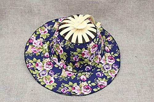 QND,Sombrero,Ventiladores Plegables de Mano Gorra de Viaje Verano Mujer Chica Sombrero para el Sol Ventilador de Baile de bambú Gorra de Tela Floral, Azul