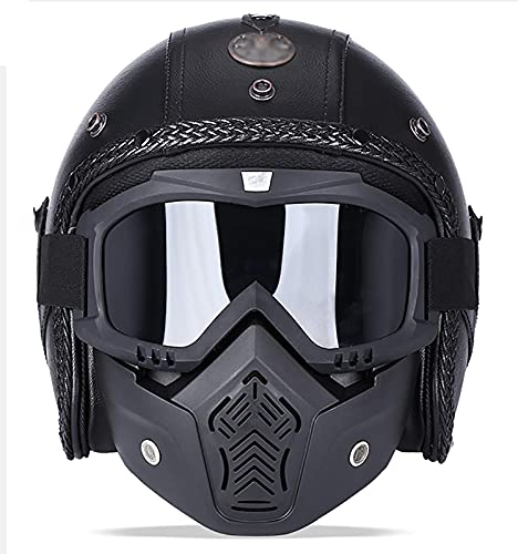 HYRGLIZI Casco de Motocicleta para Hombres y Mujeres, Casco Abierto con máscara Protectora, certificación Dot/ECE, Motocicleta, Scooter, ciclomotor, Casco Retro de Media Cara 4, XL = (61~62 CM)