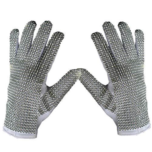 Shuanghao Michael Jackson Cosplay Billie Jean guantes de concierto de punk brillantes dorados hechos a mano (1 par)
