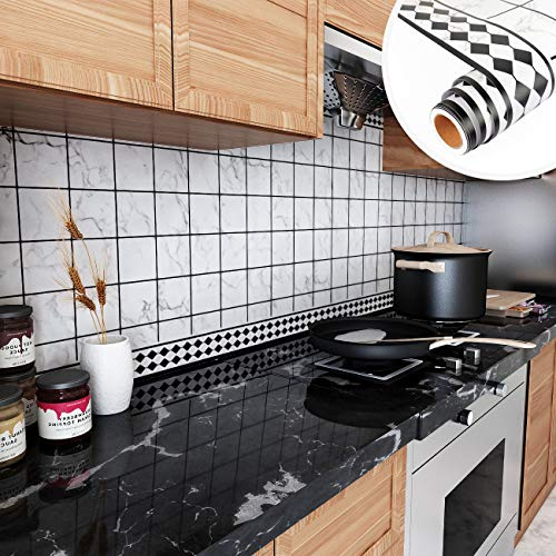 Yenhome Kitchen Backsplash Peel and Stick Wallpaper 118x30 inch Self Adhesive Grid Wallpaper White Tile Wallpaper Stick and Peel Waterproof Removable Wallpaper for Kitchen Wall Background Living Room