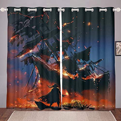 Cortinas de decoración náutica para niñas y niños con diseño de velero, diseño de barco de vela, para ventana con temática de océano, cortina de ventana de aventura, 46 x 54
