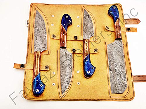 Hand Forged Custom Made Damascus Steel Kitchen Knives Set / Chef Knives Set / BBQ Knife 4-Pieces Set FBK-01041, 01043, 01052, 01055, 01058, 01062 and 01063 (Cognac and Blue Colored Wood)