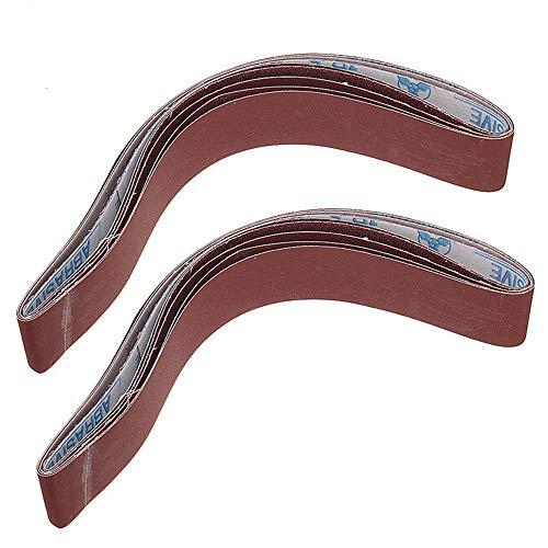 GGOII Schleifband 10 Stück 40 bis 1000 Körnung 40 mm x 740 mm Schleifbänder für Winkelschleifer Bandschleifer Aufsatz Schleifwerkzeuge240 Körnung
