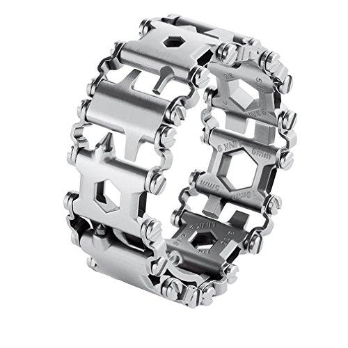 Tread Bracelet, Outdoor Multifunction Bracelet Wristband,Smaller Travel Friendly Wearable Multitool, Stainless Steel