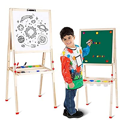amzdeal Kids Easel Art Easel Stand for 2 to 8 Years Double-Sided Multiple-use Chalkboard/Whiteboard for Children Magnetic Art Painting Stand Adjustable Foldable Wooden Easel with Paper Roll Holder