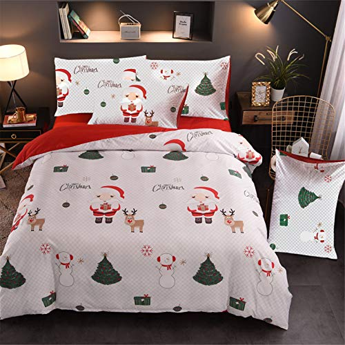 A Nice Night Christmas Tree Deer Santa Claus Printed Bedding Sets Quilt Cover Set No Comforter (White,Twin)