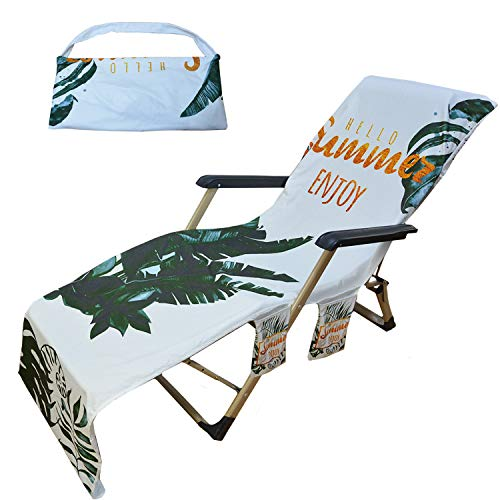 Beach Towel Chair Covers Pool Lounge Chair Covers Towel with Pockets Beach Towel Covers for Chaise Lounge Chairs Green Leaves Quick Dry Towel Covers for Hotel Holiday Sunbathing, No Chair