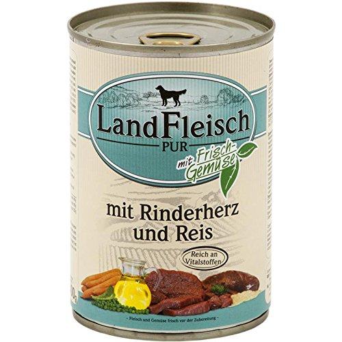 Landfleisch Rinderherzen & Reis | 12x 400g Hundefutter