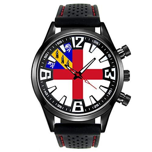 Timest - Herm Baliato di Guernsey - Bandiera del Paese - Orologio da Uomo Cinturino in Silicone nero Analogico al quarzo SF556