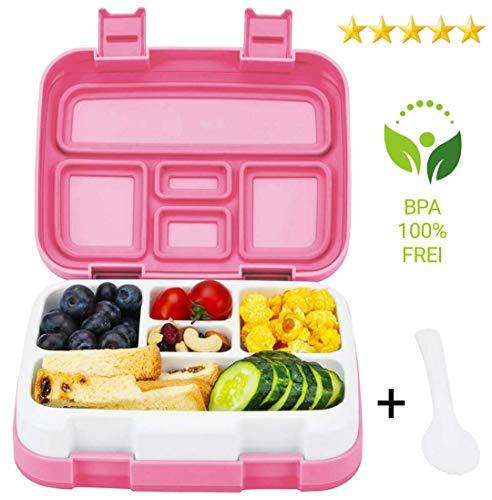 Al AZIZ Lunchbox für Kinder Bento Box Essen Box mit 5 Fächern und Multifunktionslöffel für Schule und Reisen Vesperdose Brotdose Spülmaschinengeeignet und Mikrowellengeeignet (Rose)
