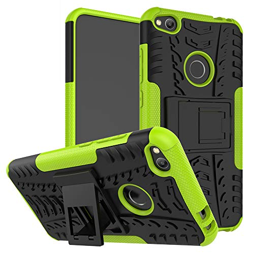 MAMA MOUTH Huawei P8 Lite Custodia, Duro Shock Proof Copertura Rugged Heavy Duty Antiurto in Piedi Custodia Caso Case per Huawei P8 Lite 2017 Smartphone,Verde