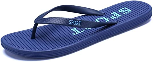 FJIUYUE-S, Mens Flip Flops Slippers Thong Sandals Beach Shoes For Men Or Women Plastic Comfortable Soft Breathable Summer Beach Flip Flops Antislip Flat Round Toe (Color : Dark blue, Size : 37 EU)