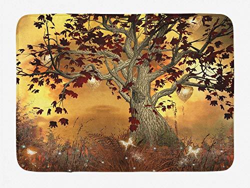 Alfombra de baño de árbol, composición temática de árbol solitario con ornamentación en tonos de color tierra, alfombra de decoración de baño de felpa con respaldo antideslizante, marrón óxido y amari