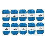 Korbond - Lote al por mayor de 10 madejas de color azul klein de 100g cada una de hilo acrílico de doble punto, ligero, hipoalergénico y resistente (1000g y 2900m en total)