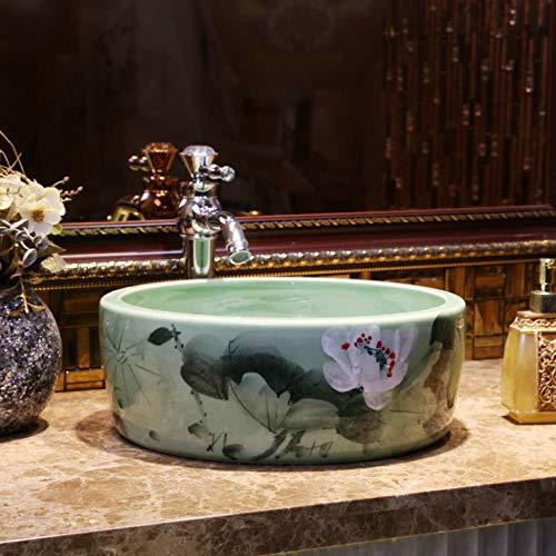 Hiwenr Guardarropa de Porcelana Lavabo Redondo Encimera Lavabo Negro Recipiente Baño Pintura de Manos Arte Lavabo Lavabo Lavabo