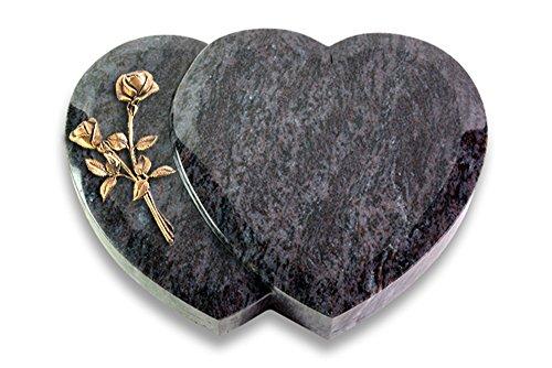 Grabplatte, Grabstein, Grabherz, Urnengrabstein Amoureux 40 x 30 x 7 cm Orion-Granit, poliert inkl. Gravur (Bronze-Ornament Rose 10)