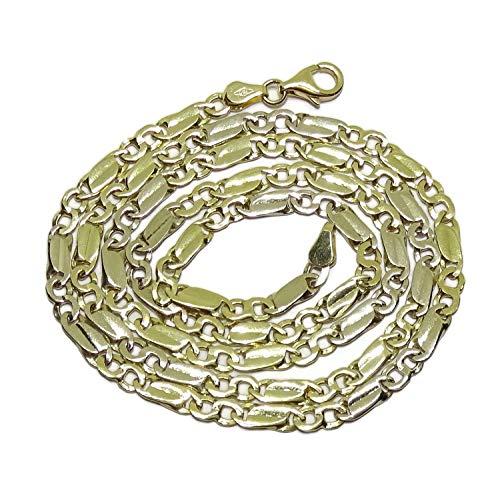 Cadena de Oro Amarillo de 18k de oro Macizo para Hombre, de eslabones combinados, 4mm de Grosor, 60cm de Larga Cierre mosquetón para máxima Seguridad Peso; 22.45gr de Oro de 18k
