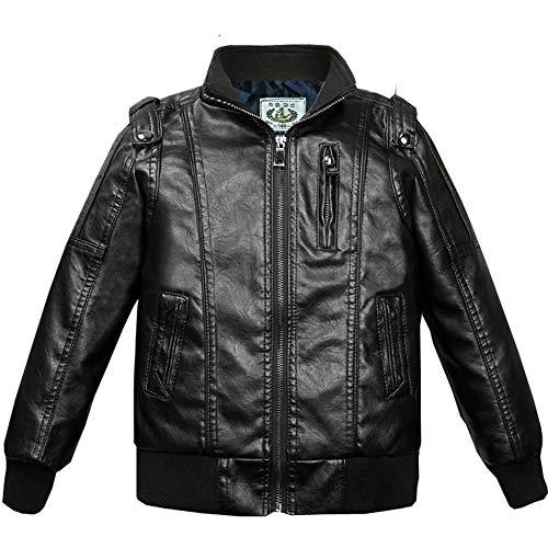 SXSHUN Jungen Verdickte Lederjacke PU Leder Kinder Mädchen Flaumgefüttert Bikerjacke Warm Outwear Kleidung Mantel, Schwarz, 122/128 (Etikettengröße:130)