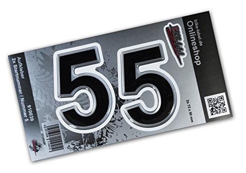 910039 Startnummer-sticker, set van 2 stuks, zilver 50 x 73 mm, grote cijfers, uitstekende bescherming tegen weersinvloeden, geen goedkope foliestickers