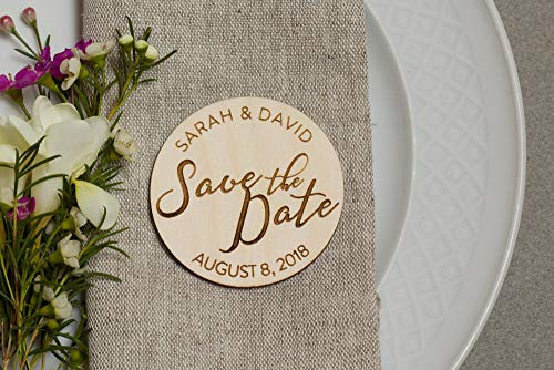 10Pcs Round Wooden Wedding Magnets, Wood Save The Date Magnets - Simple Save The Date - Christian Save The Date - Crunch Wedding Magnets - Wedding Announcement - Guest Gifts