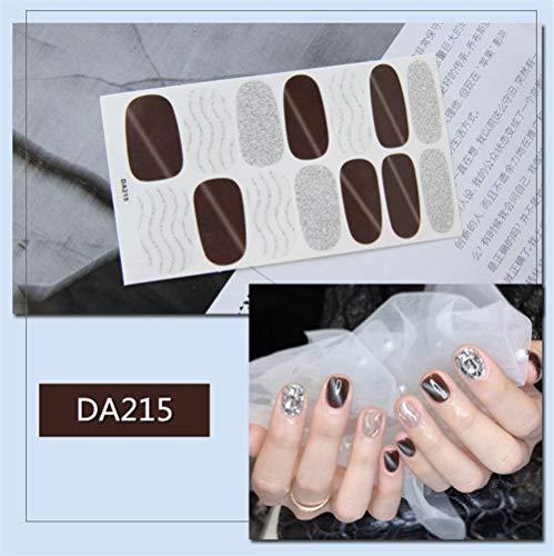 HDDWZH Nagelaufkleber,14 Tipps/Blatt Volle Deckung Wraps Nagellack Sticker Braun Und Lilver Pailletten Stripes Design Nailart Maniküre Tipps