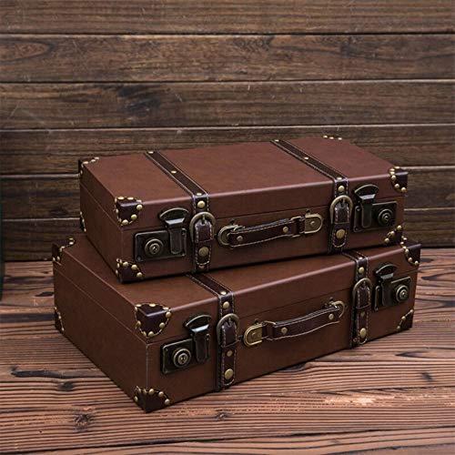 EXCLVEA Vintage Aufbewahrungskoffer Trunk Altertümlich Antik Vintage Style Suicase for Regal Holz Wohnkultur Parteien Hochzeit Dekoration Displays Crafts (Farbe : Braun, Größe : 45cmx22cmx12cm)